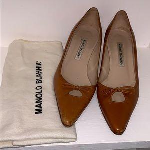 Manolo Blahnik Leather Kitten Heels